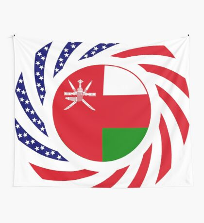 Omani American Multinational Patriot Flag Series Wall Tapestry