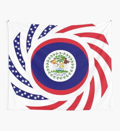 Belizean American Multinational Patriot Flag Series Wall Tapestry