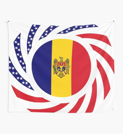Moldovan American Multinational Patriot Flag Series Wall Tapestry
