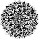Flower Mandala Black and White by tekslusdesign