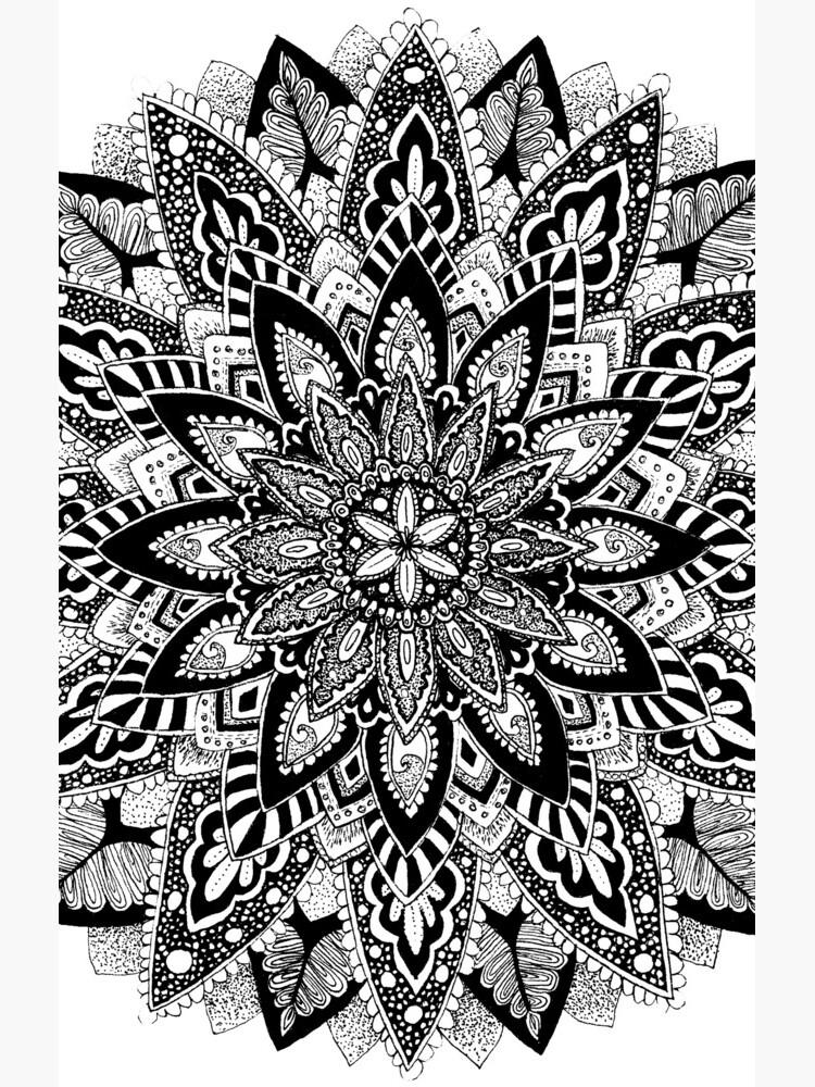 Blumen Mandala Schwarz und Weiß von tekslusdesign