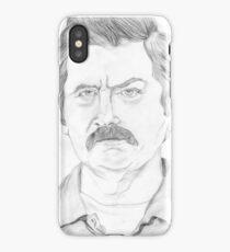 Ron Swanson Pencil Portrait iPhone Case/Skin
