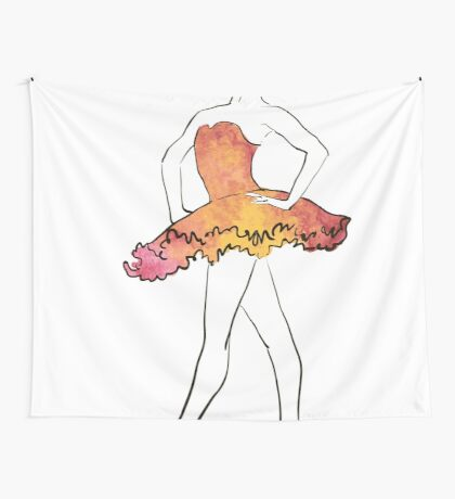 Ballerina-Figur, Aquarellillustration Wandbehang