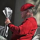 Man w/ Red Beret  New Orleans Louisiana by milton ginos