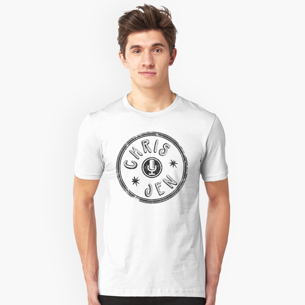 Chris and Jen Circle Stamp - Faded (Black) Unisex T-Shirt Front