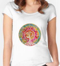 Camiseta entallada de cuello ancho Árbol de la vida Mandala