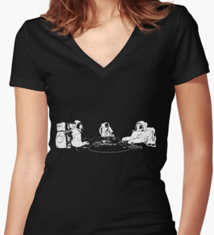 SPACE POKER Fitted V-Neck T-Shirt