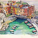 'Vernazza. Cinque Terre Italy' p&w 2018 by Elizabeth Moore Golding