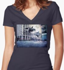 City of whales Women's Fitted V-Neck T-Shirt