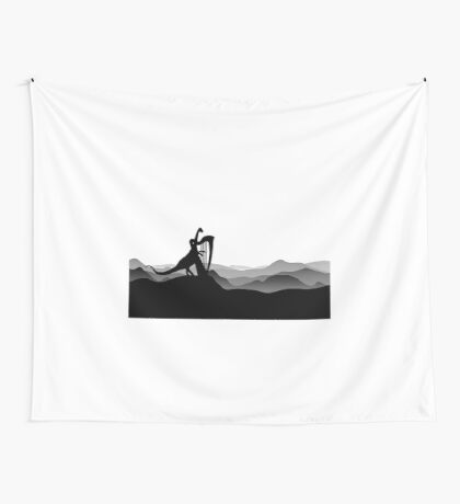 DINO MUSICIAN - Dinosaur with Harp - Dino Collection Wall Tapestry