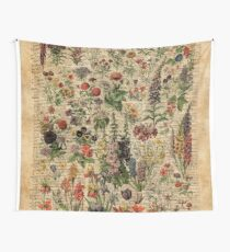 Colourful Wild Meadow Flowers Over Vintage Dictionary Book Page Wall Tapestry