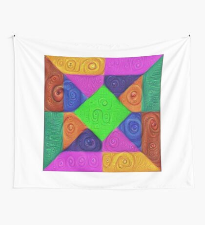 DeepDream Color Squares Visual Areas 5x5K v1448026462 Wall Tapestry