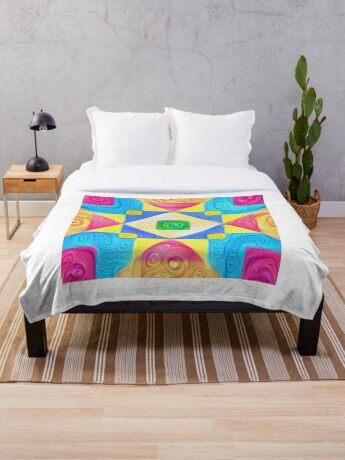 #DeepDream Color Squares Visual Areas 5x5K v1448181063 Throw Blanket