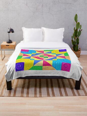 #DeepDream Color Squares Visual Areas 5x5K v1448168644 Throw Blanket
