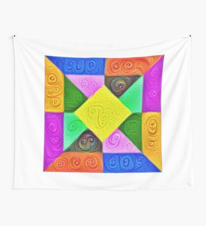 DeepDream Color Squares Visual Areas 5x5K v1447913433 Wall Tapestry