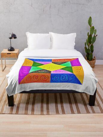 DeepDream Color Squares Visual Areas 5x5K v1447913433 Throw Blanket