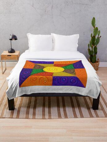 DeepDream Color Squares Visual Areas 5x5K v20 Throw Blanket