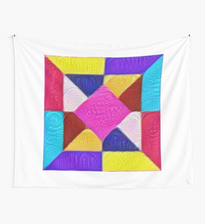 DeepDream Color Squares Visual Areas 5x5K v1447942584 Wall Tapestry