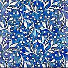 Blaues Blumenaquarellmuster von sosweet