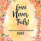 """Love Never Fails""! 2019 Regional Convention of Jehovah's Witnesses (Floral Orange) by JW Stuff"