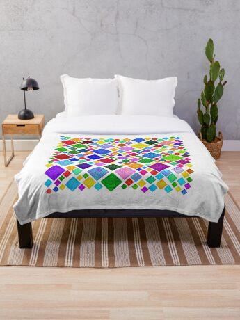 #DeepDream Color Squares Visual Areas 5x5K v1448787318 Transparent background Throw Blanket