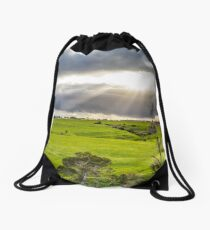 Shining at greens Drawstring Bag