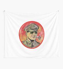 World War II General Corn Cob Pipe Watercolor Wall Tapestry