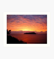 Sky of Fire - New Zealand Greeting Sunrise Over Ocean Art Print