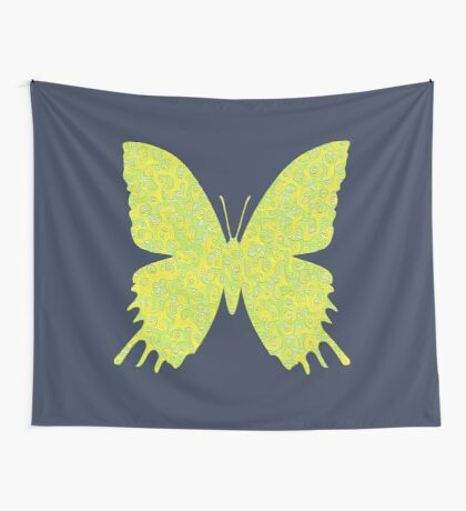 #DeepDream Lemon Lime color Butterfly Wall Tapestry
