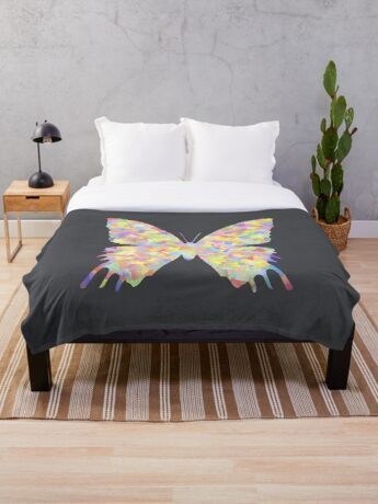 Pastel Motley Butterfly Throw Blanket
