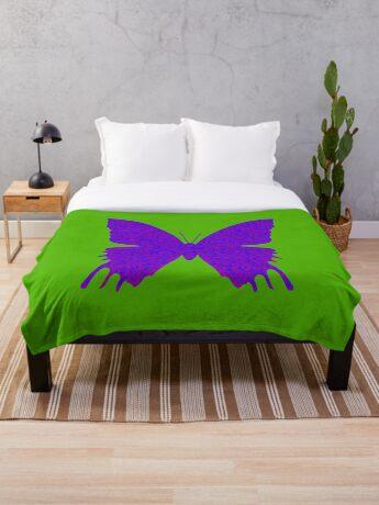 #DeepDream Purple Violet Butterfly Throw Blanket