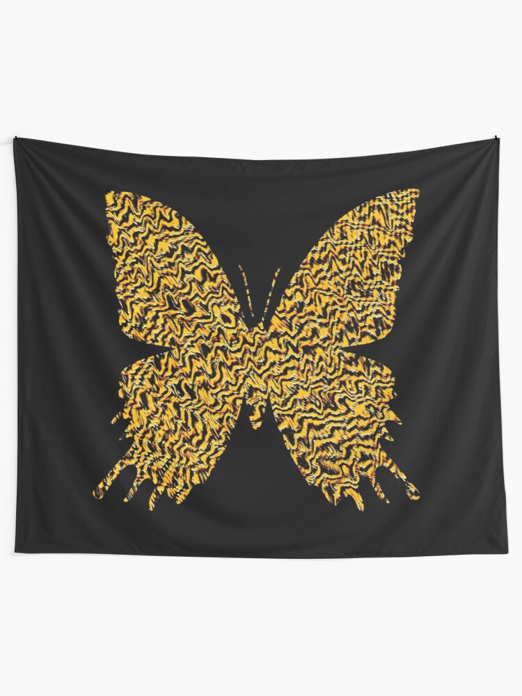 Alternate view of Golden butterfly Wall Tapestry