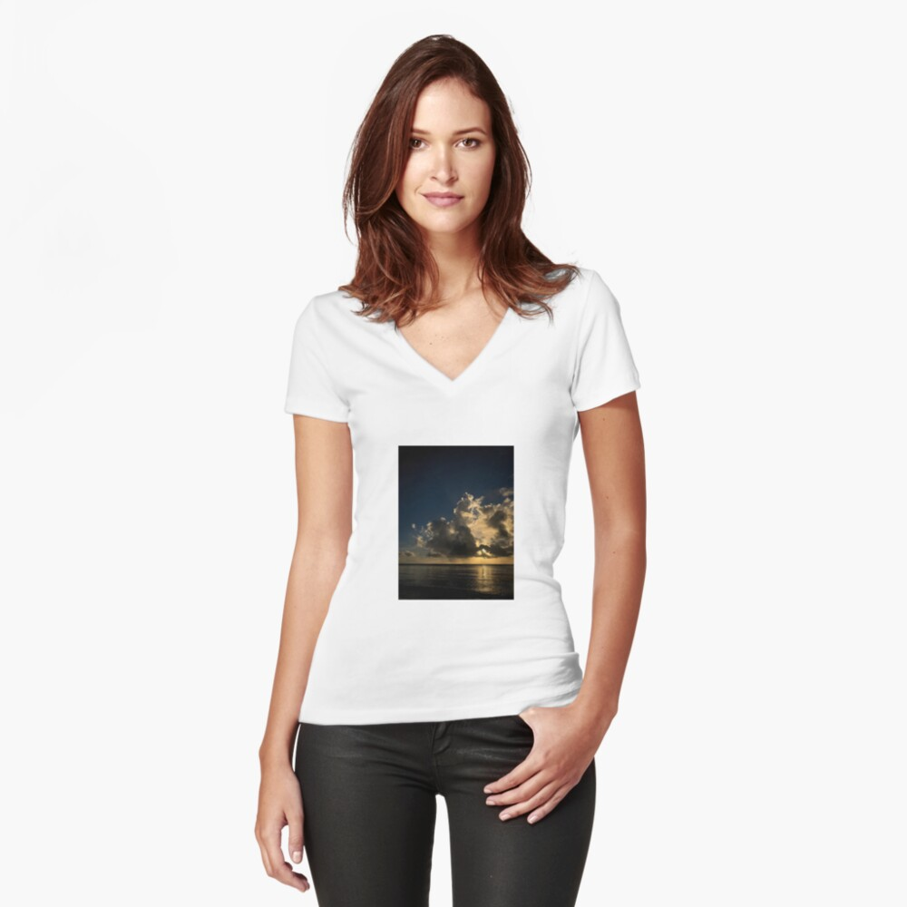 Reflection sunset Fitted V-Neck T-Shirt