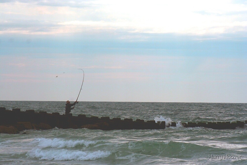 Angler on the Seawall by Harry Hoover