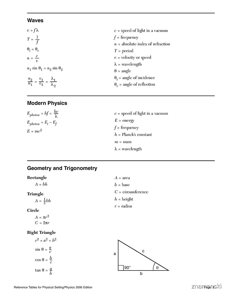 Physical Setting/Physics, Reference Tables - 2006 Edition, Page 5 by znamenski