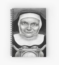 Nun on a motorcycle - charcoal drawing Spiral Notebook
