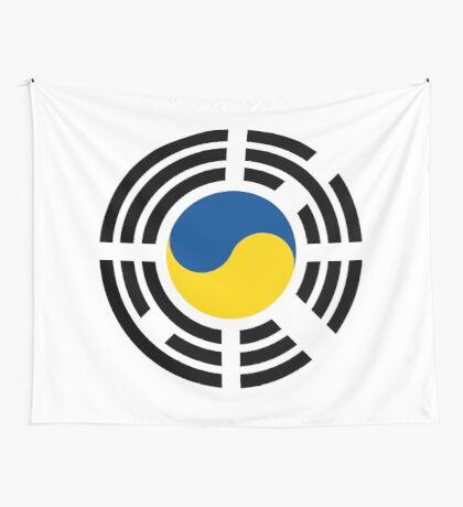 Korean Ukrainian Multinational Patriot Flag Series Wall Tapestry