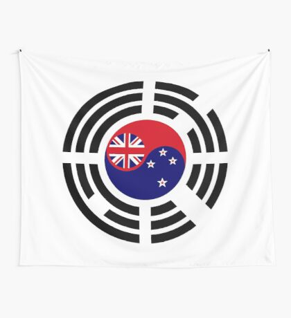 Korean Kiwi (New Zealand) Multinational Patriot Flag Series Wall Tapestry