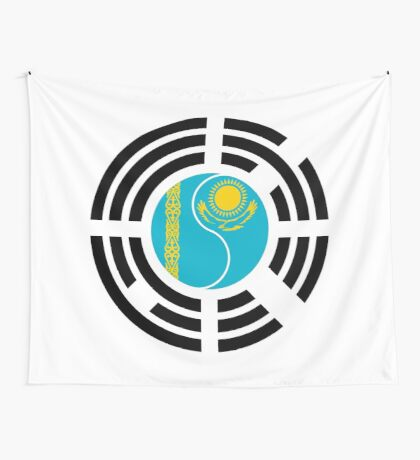 Korean Kazakhstan Multinational Patriot Flag Series Wall Tapestry