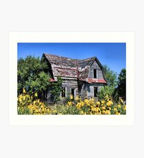Old House & Flowers, Madison County Iowa Art Print
