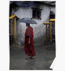 Monk at Namohbuddha, Nepal Poster