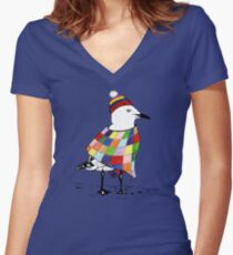 Chilli the Seagull Women's Fitted V-Neck T-Shirt