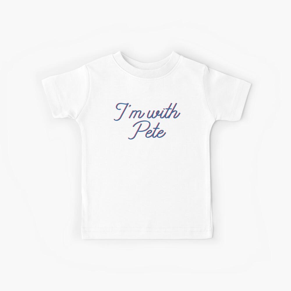 Estoy con Pete, el alcalde Pete Buttigieg en 2020, texto de escritura monoline en rojo y azul. Pete para América en esta carrera presidencial. Camiseta para niños