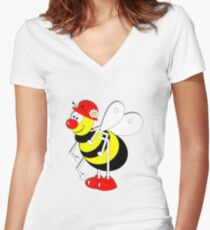 Cute Cartoon Buzzy Bee  Women's Fitted V-Neck T-Shirt