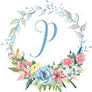 Watercolor Leaves Floral Monogram Letter P by Grafixmom