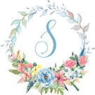 Watercolor Leaves Floral Monogram Letter S by Grafixmom
