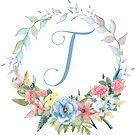 Watercolor Leaves Floral Monogram Letter T by Grafixmom