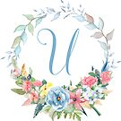 Watercolor Leaves Floral Monogram Letter U by Grafixmom
