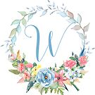 Watercolor Leaves Floral Monogram Letter W by Grafixmom
