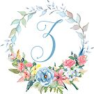 Watercolor Leaves Floral Monogram Letter Z by Grafixmom